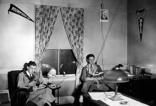 Edmund Muskie '36 (left) and Charles Taylor '36 in their freshman-year room in Roger Williams Hall. (Photograph courtesy of Muskie Archives and Special Collections Library.