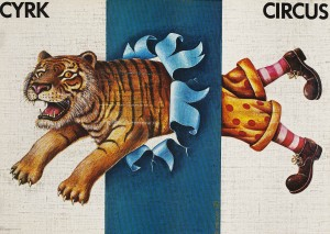 "Rafal Oblinski's 1980 poster ""Cyrk"" (""Circus"") appears in the Museum of Art exhibition ""Polish Posters: Art and Allusion."""