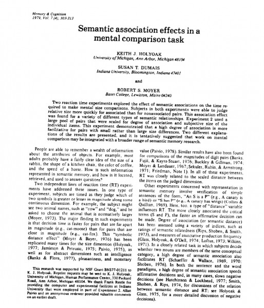 Research with Bates professors in the 1970s, including this article with Robert Moyer, was a precursor to Dumais' current work that has shaped the direction of human-computer interaction and information retrieval.