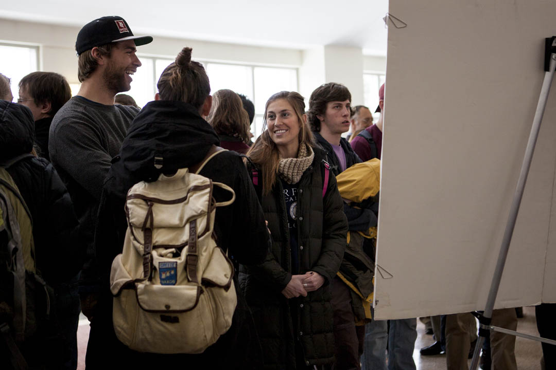 Students engage in animated discussion during the Summit. (Sarah Crosby/Bates College)