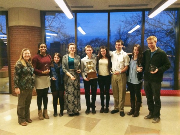 The Bates contingent at the U.S. Universities Debating Championship included (from left) Director of Debate Jan Hovden and debaters Shannon Griffin, Sasha Grodsky, Taylor Blackburn, Jac Stewart, Stephanie Wesson, Matt Summers, Emily Schwalbe and Ben Claeson. (Photograph courtesy of BQDC)
