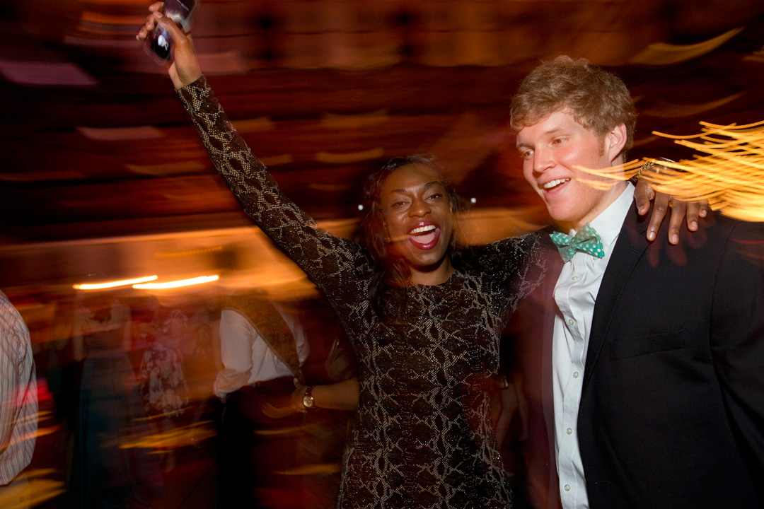 March is party time, with the All-College Gala in the Gray Athletic Building and Alumni Gym. Milly Aroko '14 of Salem, Mass., and Owen Minott '14 of Needham, Mass., take a turn on the dance floor. (Phyllis Graber Jensen/Bates College)