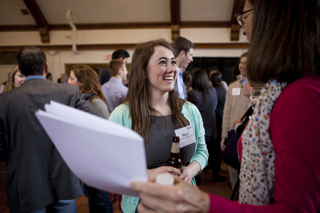 Maya Cates-Carney of Tacoma, Wash., speaks with a guest at the Mount David Society Scholarship Luncheon, where scholarship donors meet students who receive scholarship support. (Sarah Crosby/Bates College)