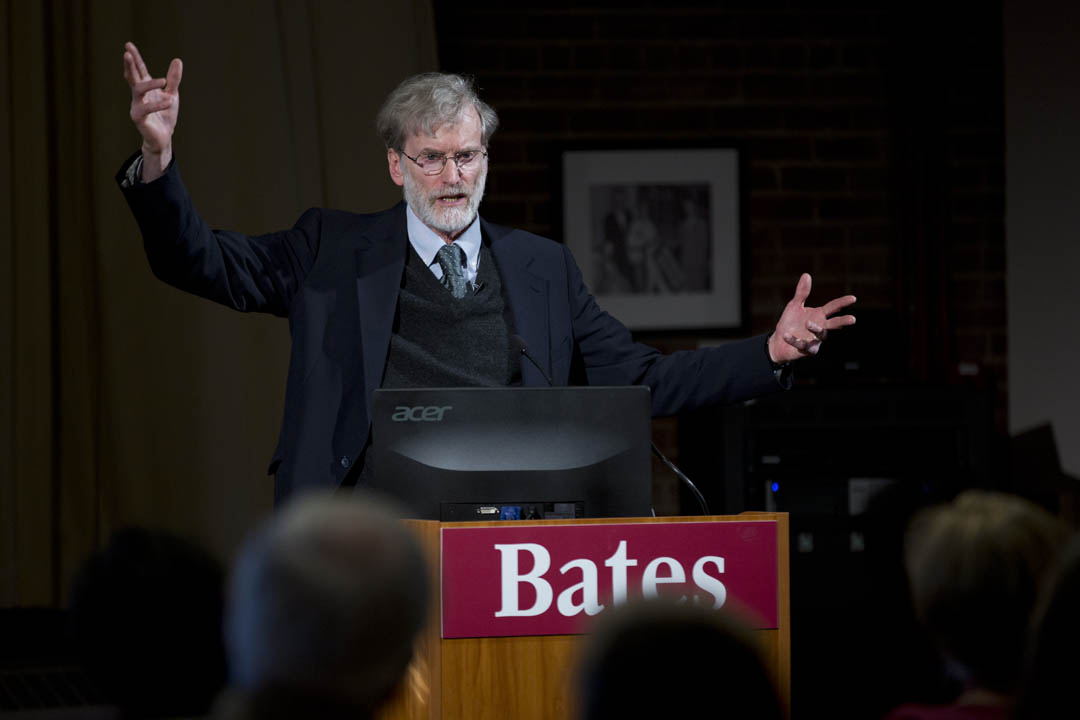"Thomas Tracy, the Phillips Professor of Philosophy and Religious Studies,  discusses ""the problem of suffering"" in a Muskie Archives talk celebrating his Kroepsch Award for Excellence in Teaching. (Phyllis Graber Jensen/Bates College)"