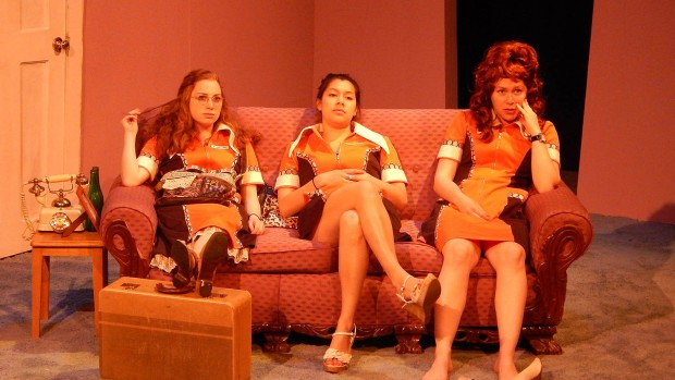 """Colette Girardin '17, Singha Hon '14 and Allie Freed '17 are the Waltzes in the Bates production of """"Little Egypt."""" (Doug Hubley/Bates College)"""