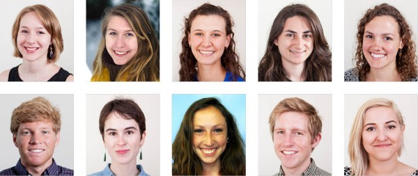 Bates College's 2014 Fulbright recipients as of June 5, 2014. Top row, from left: K. Ailes, E. Gawarkiewicz, A. Hill, A. Lepre, C. Maeder. Bottom row: O. Minott, A. Munter, M. Ramey, J. Stewart, A. Strada.