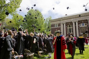 Add all these steps  together, and what you get is another great Bates Commencement. Shown: Commencement 2014. (Phyllis Graber Jensen/Bates College)