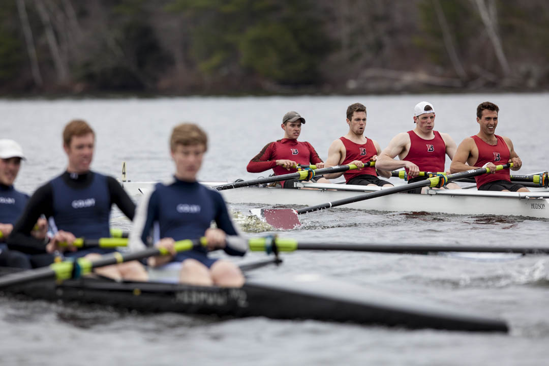 The men's rowing team digs deep during the President's Cup Regatta. (Sarah Crosby/Bates College)