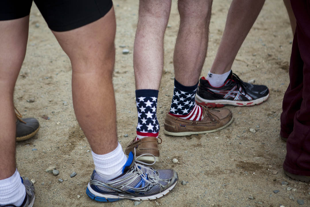 A Bates rower's socks make a star-spangled statement at the President's Cup Regatta. (Sarah Crosby/Bates College)