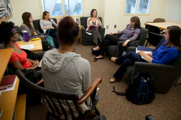 Professor of Psychology gathers her six-student team at the start of Short Term. Their goal: to transform how statistics is taught at Bates. (Phyllis Graber Jensen/Bates College)