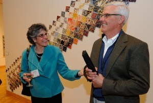 In 2012, Emily Siegel Stangle '72 and Bruce Stangle '70 attend a Museum of Art reception  honoring Bruce as the inaugural recipient of the Bruce Stangle Award for Distinguished Service to the Bates Community. (Jose Leiva.)
