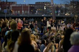 The crowd enjoys Bates student performances in Auburn's Festival Plaza. (Phyllis Graber Jensen/Bates College)