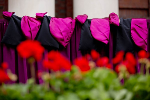 Academic hoods await the four 2014 honorands: John Seely Brown, Glenn Close, David Evans Shaw and Isabel Alexis Wilkerson. (Phyllis Graber Jensen/Bates College)