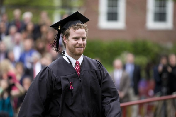 Senior class speaker Collin McCullough. (Phyllis Graber Jensen/Bates College)