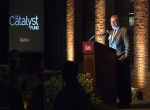 Board chair Mike Bonney '80 addresses the dinner gathering, held in the Bates Mill, following the announcement of the Catalyst Fund.