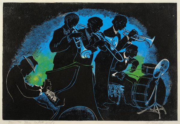 "Images on display in the Museum of Art exhibition ""Convergence"" include ""Basin Street Blues,"" a linocut (artist's proof) by Lila Oliver Asher, no date on permanent loan from the Jean and Robert Steele Collection."