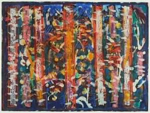 """Five Blue Notes"" (1980), an image in encaustic and egg tempera on board by David C. Driskell, is among images on display in the Museum of Art exhibition ""Convergence."""