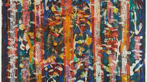 """""""Five Blue Notes"""" (1980), an image in encaustic and egg tempera on board by David C. Driskell, is among images on display in the Museum of Art exhibition """"Convergence."""""""