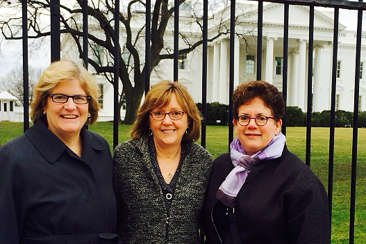 President Spencer poses with fellow college presidents Kathleen McCartney of Smith (center) and Biddy Martin of Amherst during their visit to the White House in January for the summit on college opportunity.