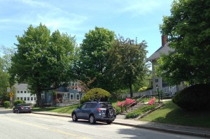 From left: 67, 63 and 53 Campus Ave., photographed on June 2, 2014. (Doug Hubley/Bates College)