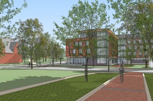 The green space between 55 and 65 (shown) Campus Ave. (Ann Beha Architects)