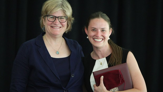 Victoria Wyeth '01, right, receives her Bates' Best Award from President Clayton Spencer at the Annual Gathering of the Alumni Association on June 7, 2014. (H. Lincoln Benedict '09)