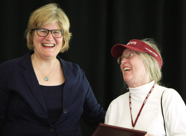 Elizabeth Metz McNab '64, right, receives her Bates' Best Award from President Clayton Spencer at the Annual Gathering of the Alumni Association on June 7, 2014. (H. Lincoln Benedict '09)