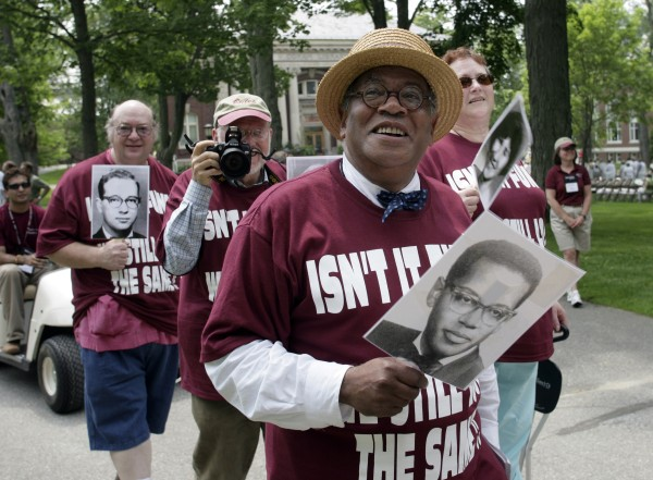 The Rev. Peter Gomes '65 is shown with members of his class during Bates' Alumni Parade in 2005. Photograph by Phyllis Graber Jensen/Bates College.