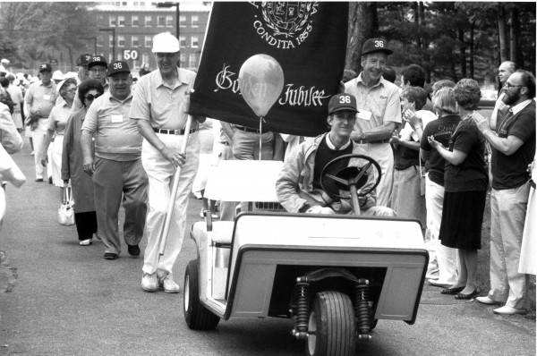 Maine Sen. Edmund S. Muskie, front left, who graduated from Bates in 1936, marches in the Alumni Parade at his 50th reunion in 1986.