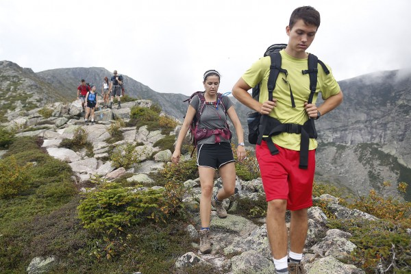 Sophia Pellegrini '15 and Bobby Lankin '15 lead their group back down the trail. (Mike Bradley/Bates College)