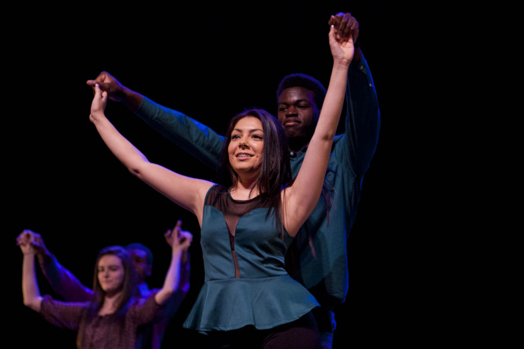 "Denise Del Villar '16 of Los Angeles and Olivier Brillant '17 of East Orange, N.J.,  perform in ""Enlaces: I Am,"" a showcase sponsored by Latinos Unidos exploring the Latino presence at Bates and in Maine. Sarah Crosby/Bates College)"