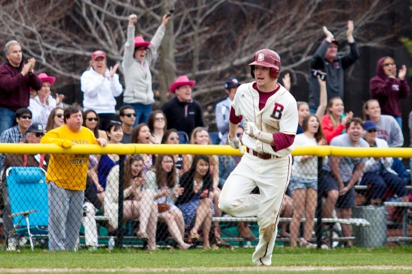Steve Burke '14 of Bedford, N.H., heads for home during a Bates victory over Tufts on May 3. (Sarah Crosby/Bates College)