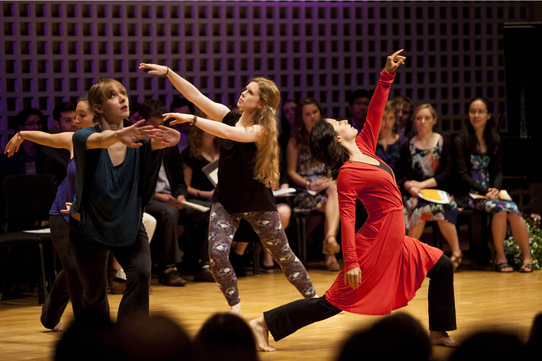 The Phi Beta Kappa induction ceremony on May 23 in Olin Arts Center concluded with a dance performance featuring, from left, seniors Sonja Favaloro (partially hidden) of Morrisville, Pa., Katie Ailes of Swarthmore, Pa., Hannah Miller of St. Louis Park, Minn., and Mariya Manahova of Sofia, Bulgaria. (Sarah Crosby/Bates College)
