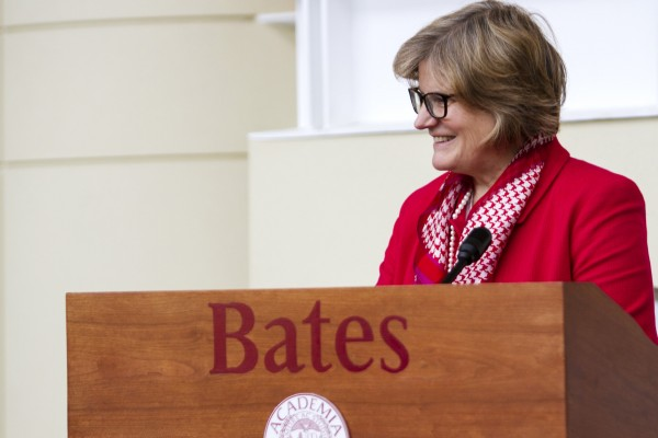 """We have ambitious goals for Bates, and I am inspired by this outpouring of support from the college community,"" said President Clayton Spencer, shown here greeting members of the Class of 1964 back to Bates for their 50th Reunion in June. (Sarah Crosby/Bates College)"