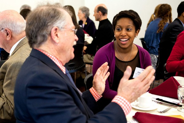 Members of the Mount David Society, the college's leadership giving society, made gifts of $4.8 million in 2014. Here, Tessa Hathaway '14 talks with a donor during the annual Mount David Society Scholarship Luncheon on March 28.