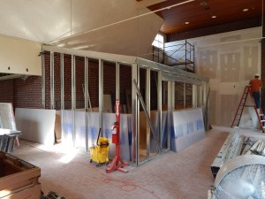 This meeting area will be walled in with a translucent material to take advantage of abundant natural light in the new OIE space. (Doug Hubley/Bates College)