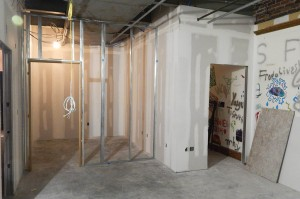 The soon-to-be kitchen in the new Office of Intercultural Education. (Doug Hubley/Bates College)
