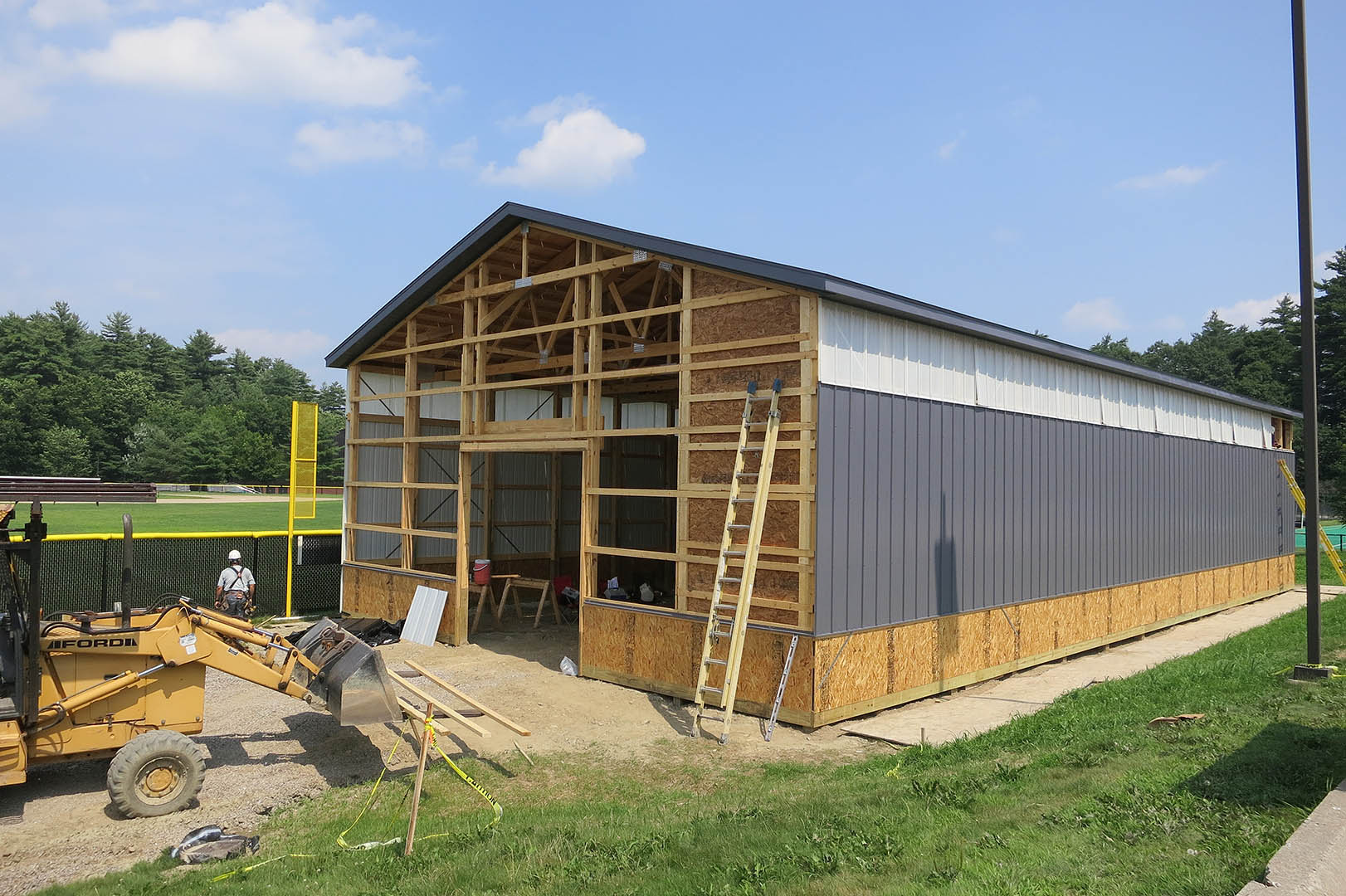 The new batting facility under construction on July 23, 2014. (Doug Hubley/Bates College)