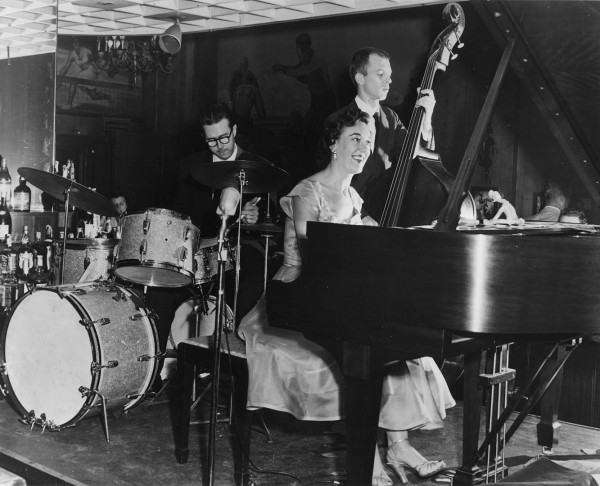 "Marian McPartland, center, flanked by drummer Joe Morello and bassist Bill Crow. McPartland is portrayed in a Bates screening of the documentary ""In Good Time."" (Courtesy of Films by Huey)"