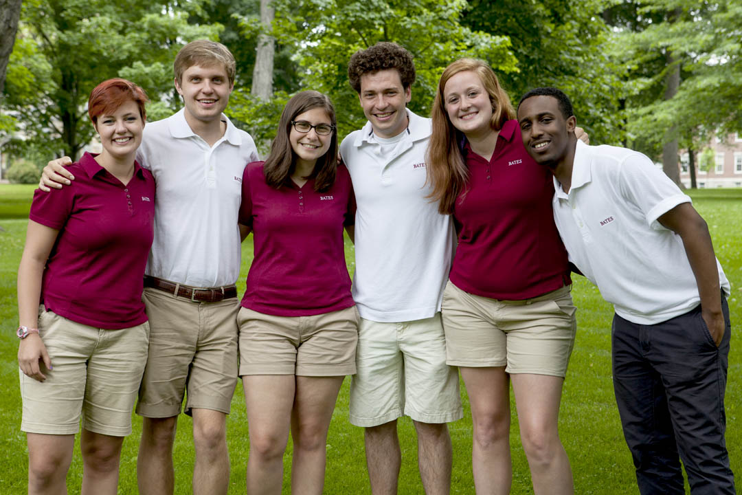 The 2014 Admission summer interns line up for a portrait on the Historic Quad. From left, Audrey Burns '17, Sam Myers '16, Olivia Jacobs '15, Gary Kersbergen '16, Symmantha Page '15 and Ahmed Sheikh '16. (Sarah Crosby/Bates College)