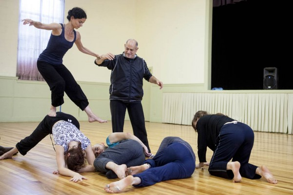 Bates Dance Festival choregrapher David Dorfman directs a rehearsal at Lewiston's New Beginnings as part of a U.S. State Department Cultural Diplomacy project featuring Dorfman's company and seven dancers from Turkey and Armenia. (Sarah Crosby/Bates College)