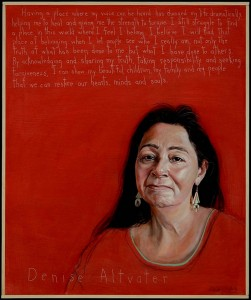 "A portrait of Denise Altvater by Maine artist Robert Shetterly, from his ""Americans Who Tell the Truth"" series. Shetterly will introduce Altvater and Esther Attean (shown below) at a Harward Center Civic Forum on Oct. 1."