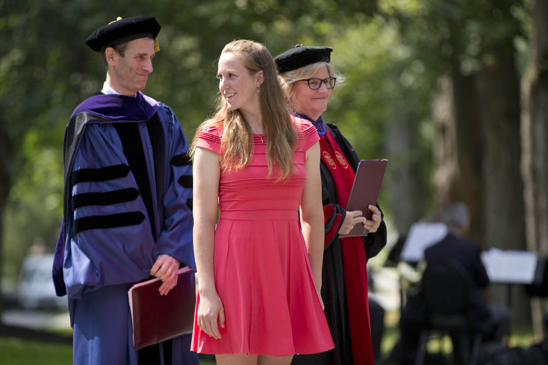 From left, Dean of the Faculty Matt Auer, Student Government President Alyssa Morgosh '15 and college President Clayton Spencer prepare to speak at Bates' 2014 Convocation. (Phyllis Graber Jensen/Bates College)