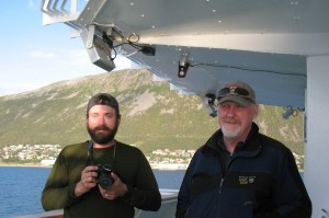Dan Frost '05, left, and Bates geologist Mike Retelle off the coast of Norway. (Julie Retelle/Bates College)