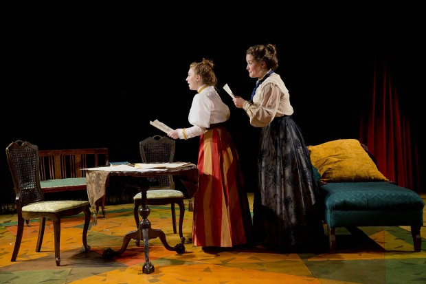 "From left, Colette Girardin '16 of East Moriches, N.Y., plays Elizabeth Robins and Hanna Allerton '15 of New York City portrays Marion Lea in the Bates production of ""The Summer in Gossensass."" The performance is part of a senior thesis project for Allerton. (Phyllis Graber Jensen/Bates College)"