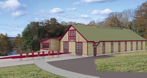 Subject to revision, this preliminary conceptual study shows the new Bates College boathouse to be built at the team's practice facility on the Androscoggin River in Greene. (Courtesy of Peterson Architects)