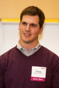 Chris Murtagh '11 received the Distinguished Young Alumni Award at Homecoming. (Rene Minnis for Bates College)