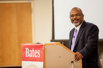 "Mays Professor Marcus Bruce gives his lecture ""The Ambassadors: W.E.B. Du Bois, The Paris Exposition of 1900 and African American Culture.""  (Sarah Crosby/Bates College)"