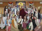 Four Bates juniors were among 20 students who had a private audience with the Dalai Lama: Ruth Baker '16 (middle row, left) of Minneapolis, Minn., Kristen Kelliher '16 (seated, center) of Norwich, Vt., Jacob Nemeroff '16 (middle row, next to Baker) of Doylestown, Pa., and Natalie Silver '16 (seated, left) of Bennington, Vt. (Photograph courtesy of SIT Study Abroad)