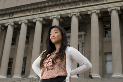 Eileen Lam '15 of New York City is shown at  Columbia University. A fellowship from the Creating Connections Consortium enabled Lam to spend summer 2014 experiencing graduate-level work at Columbia. (Phyllis Graber Jensen/Bates College)
